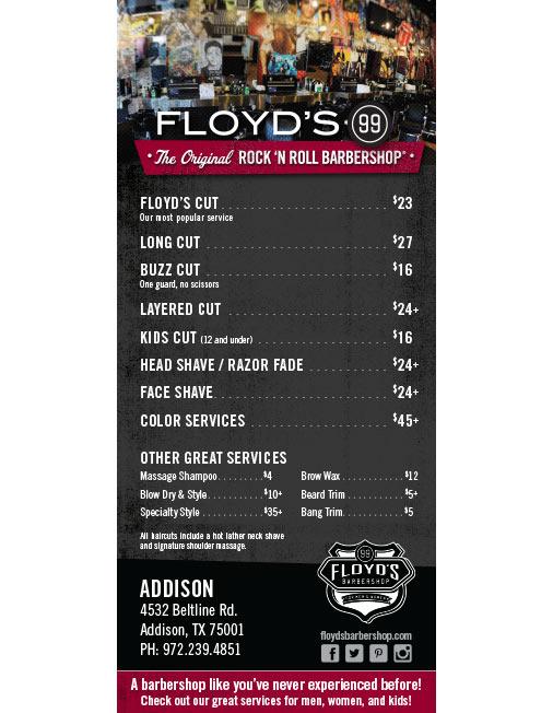Floyds 99 Barbershop Price Menu